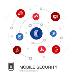 Mobile security colored circle concept with simple vector