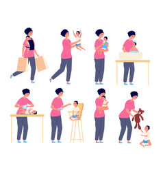 Mom and bamother taking care kid flat vector