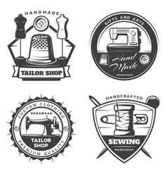 Monochrome tailor emblems set vector