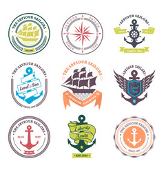 nautical badges and labels collection vector image
