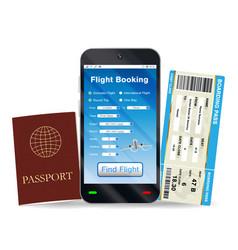 online flight booking and boarding pass passport vector image