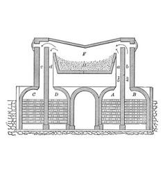 Open hearth furnace vintage vector