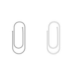 Paper clip grey set icon vector