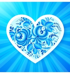 Paper heart with Russian gzhel ornament vector