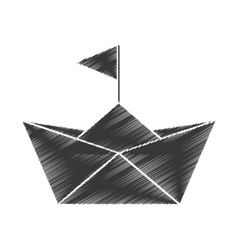 Paper ship toy isolated icon vector