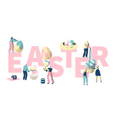 people paint colorful easter egg typography poster vector image