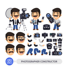 Photographer character constructor vector