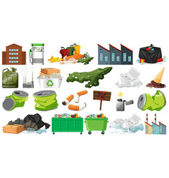 Pollution litter rubbish and trash objects vector