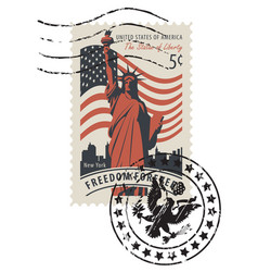 postage stamp with statue liberty and flag vector image