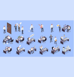 Problem situations at work isometric icon set vector