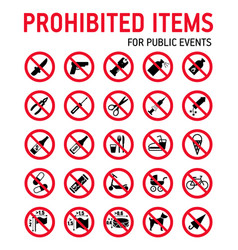 prohibition signs collection security control in vector image