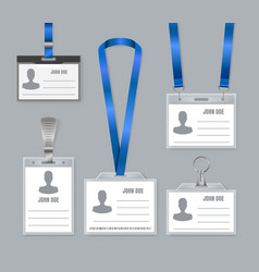 realistic detailed 3d plastic badges id set vector image