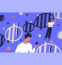 researchers holding dna molecules flat vector image
