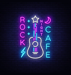 Rock cafe logo neon rock cafe neon sign vector