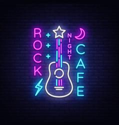 rock cafe logo neon rock cafe neon sign vector image