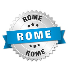 Rome round silver badge with blue ribbon vector image