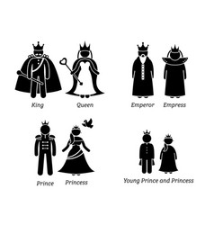 royal family characters pictogram set depicts the vector image