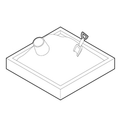 Sandbox icon in outline style vector