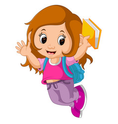 School girl cartoon walking vector