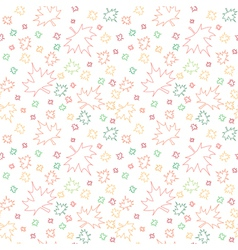 Seamless pattern with outlines of autumn leaves vector image