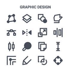Set 16 graphic design concept line icons 64x64 vector