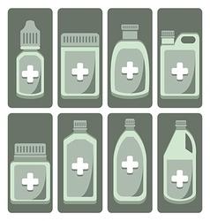 Set cute medicine bottle vector