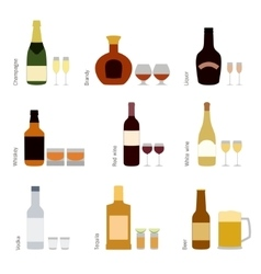 set of alcohol bottles with glasses vector image