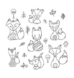 set of cute doodle foxes in simple flat style vector image