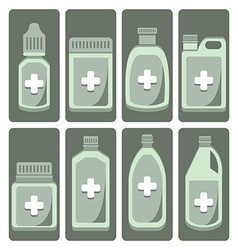 set of cute medicine bottle vector image