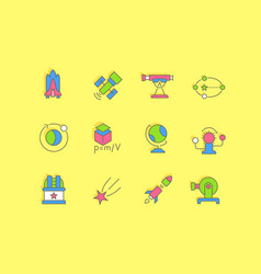 set simple line icons astronomy vector image