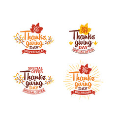 set thanksgiving day super sale typography vector image