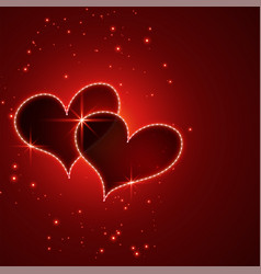 shiny red valentines day hearts background vector image