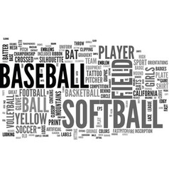 Softball word cloud concept vector