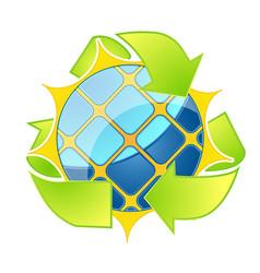solar energy logo eco arrows vector image