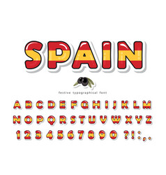 spain cartoon font spanish national flag colors vector image