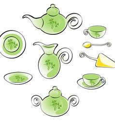 Teaware set vector