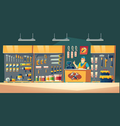 Tools store hardware construction shop interior vector