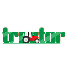 tractor on logotype for farm vector image