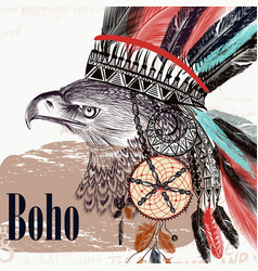 tribal design in boho style eagle headdress vector image