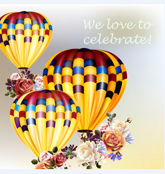 valentines day back with roses and air balloons vector image