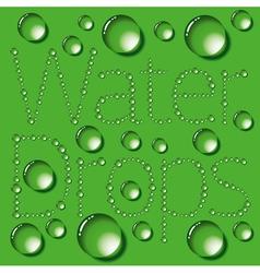 Water Drop Words On Green vector image
