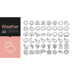 Weather icons modern line design for presentation vector