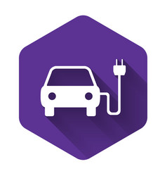 white electric car and electrical cable plug vector image