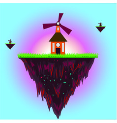 windmill on the edge of earth ecology vector image