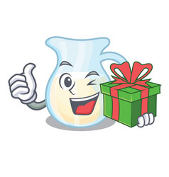 With gift milk jug completely filled with vector