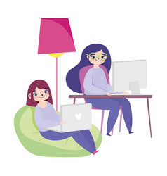 working remotely young women in desk and chair vector image