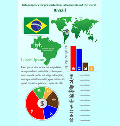 brazil infographics for presentation all vector image vector image