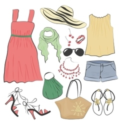 Fashion casual woman summer dress clothes and vector image vector image