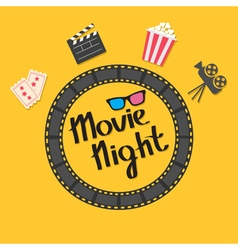 Film strip round circle frame 3d glasses popcorn vector