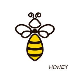 modern logo bee honey icons honeybee linear flute vector image vector image